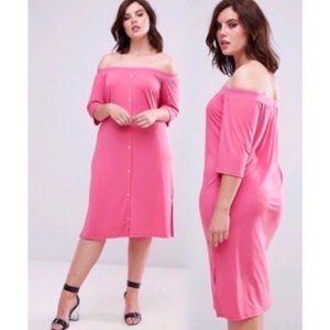 Asos Pink Clove Bardot Button Front Shirt Dress
